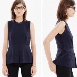 Madewell Navy Peplum Blouse with Leather Trim 4